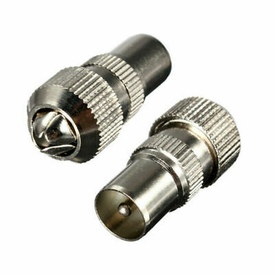 2 x MALE 2 x FEMALE TV AERIAL COAX CONNECTORS SOCKET COAXIAL PLUG METAL CABLE WI