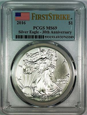 2016 $1 30th Anniversary Silver Eagle PCGS MS69 **First Strike**