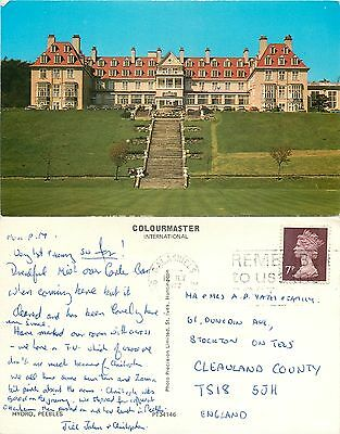 s08200 Hydro hotel, Peebles, Peeblesshire, Scotland postcard posted 1977 stamp