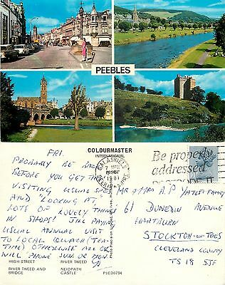 s08201 Peebles, Peeblesshire, Scotland postcard posted 1981 stamp