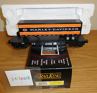 MTH 30-76194 HARLEY-DAVIDSON MOTORCYCLES FLAT CAR w TRAILER O GAUGE TOY TRAIN