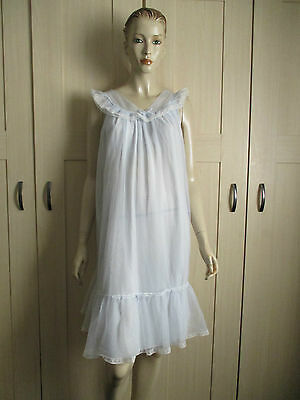 VINTAGE CLOTHING 1960,s ST MICHEAL BLUE DOUBLE LAYER NYLON NIGHTIE bust 36/38