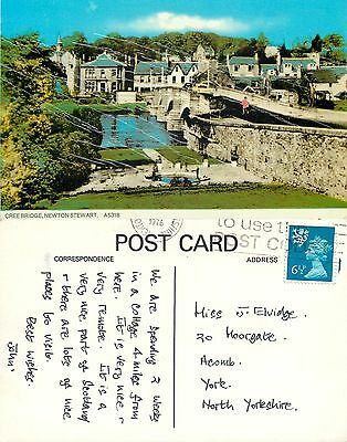 s08241 Cree Bridge, Newton Stewart, Wigtownshire, Scotland postcard posted 1976