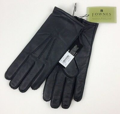 Fownes Cashmere Blend Lined Black Executive Leather Gloves Men's XL NEW