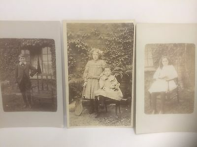 7 X Children RP Old Postcards Social History