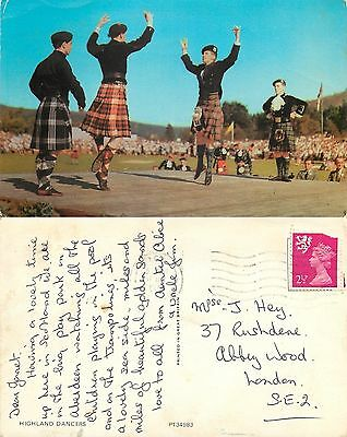 s08280 Highland Dancers, Scotland postcard posted 1972 stamp