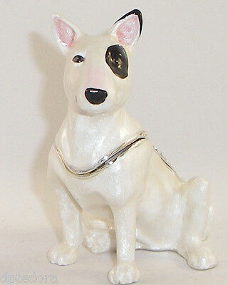Kingspoint Spunky Bull Terrier  Pewter Bejeweled Hinged Trinket / Jewelry  Box