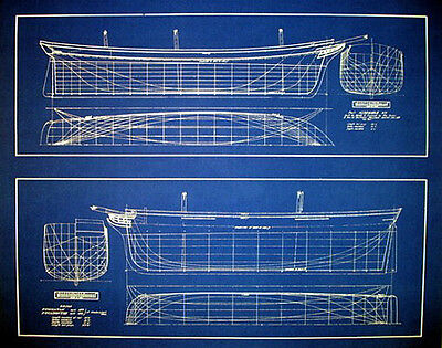 "Ships Half Hull Models circa 1829-1878 Blueprint 22"" x 28""  2 prints in 1 (282)"