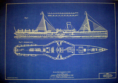 Isle of Mann 1902 Side Wheel Passenger Ship Blueprint Plans 2 prints 14x21 (302)