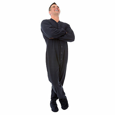 Big Feet Pajamas Unisex Adult Footed One-piece Navy Fleece Pajamas