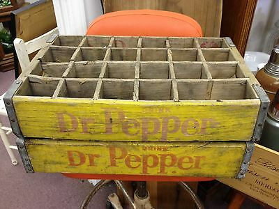 2 Wood Dr. Pepper 24 Bottle Soda Crates 1959 & Pecos Texas