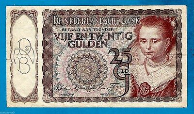 RARE TYPE 1 Netherlands P60b 25 Gulden Young Girl By P J MOREELSE # 3AL 1.4.44