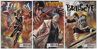 Bullseye #1, Kingpin #1, Elektra #1 Connecting Variant Cover Set
