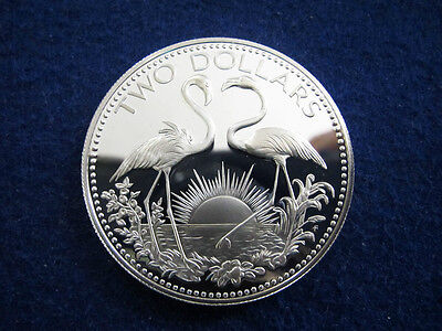 1975 Bahamas Silver Proof 2 Dollars - Flamingos - Free U S Shipping