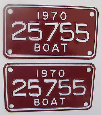1970 Michigan boat license plate NEW PAIR