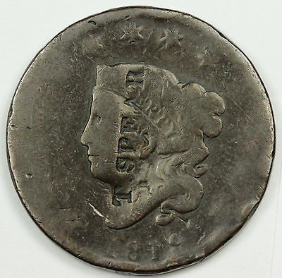 1819  Large Cent.  Counter stamped.  T. Spear.