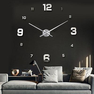 Modern DIY Large Numbers 3D Wall Clock Mirror Sticker House Decoration Silver MT