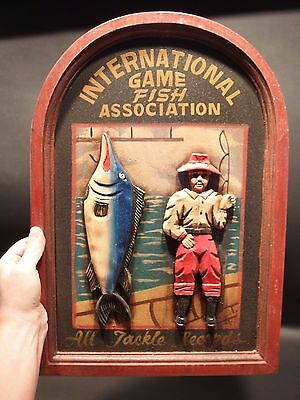 Vintage Antique Style Wood English Pub Game Fish Fishing Trade Sign