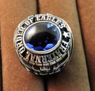 Old FOE PWP Fraternal Order Eagles Sterling Blue Stone Men's Class Signet Ring