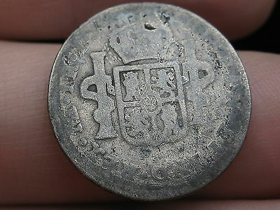 1792 Limae Peru 1 Real- Silver, Carolus IIII, Old Colonial Coin