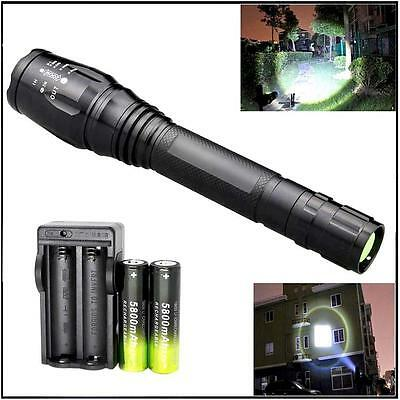 Zoomable CREE XML T6 LED 10000 LM Flashight 18650 5 Modes Torch Lamp+Charger MT