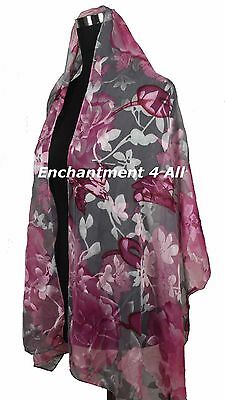 New Stunning 100% Pure Silk Floral Sheer Scarf Shawl Wrap, Pink/Gray
