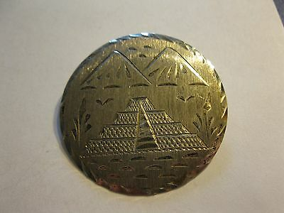 Mexico Sterling Silver Etched Pyramid Pendant Brooch Pin 10.3 Grams