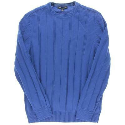 John Ashford 8929 Mens Blue Crew Neck Ribbed Long Sleeve Pullover Sweater M BHFO