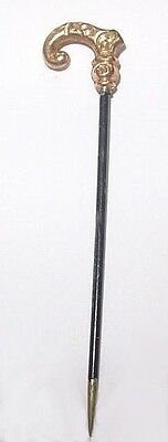 Antique Rolled Gold CANE, WALKING STICK  Stick Pin