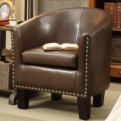 Faux Leather Barrel Chair Bronze Nail Head Accents Espresso Finish