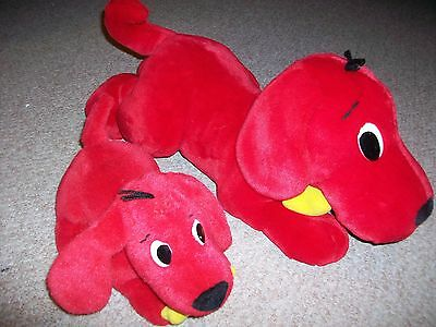 2 Clifford The Big Red Dog Plush Toy Scholastic Barking Large Wagging Tail Barks