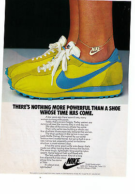 """1979 Nike 'Lady Waffle Trainer"""" """"A Shoe Whose Time Has Come"""" Print Advertisement"""