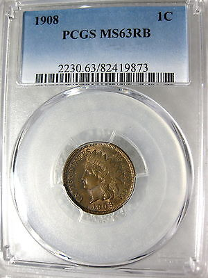 1908 Indian Head Cent PCGS Certified MS63RB