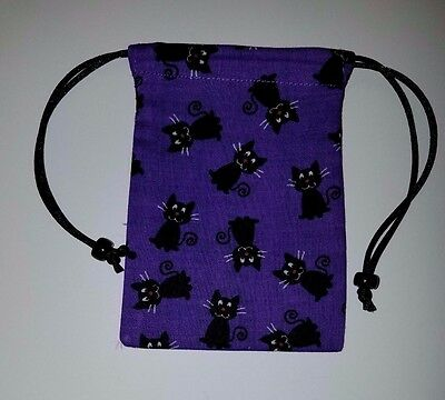 """Small Lined  Black Cats on Purple Bag 3"""" x 4""""   keepsake crystals pouch"""
