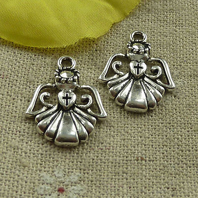 Free Ship 200 pieces tibetan silver angel charms 22x18mm #4568