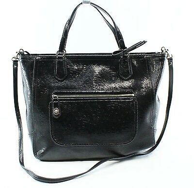 Coach NEW Black Poppy Textured Patent Leather Zip Top Tote Bag $295- #043