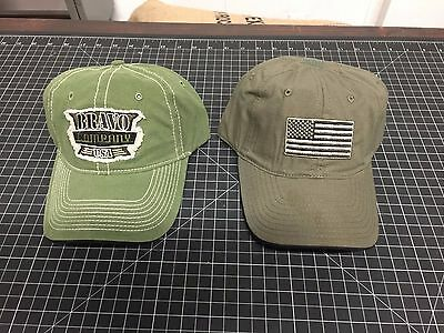 2 x BCM BRAVO COMPANY USA Shooters Cap Vintage Green Patch Flag OD Olive Hat NEW