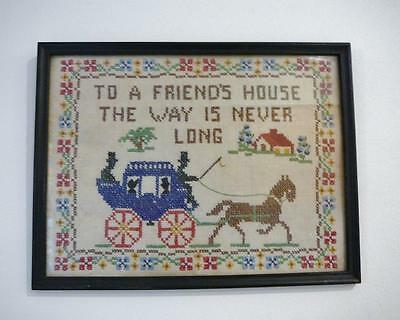"""Lovely Vintage Cross Stitch Sampler Black Framed With Glass """"To A Friends House"""""""