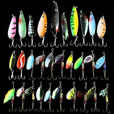 18PCS Assorted Metal Spinners Fishing Lures Bait Tackle Salmon Bass Treble Hooks