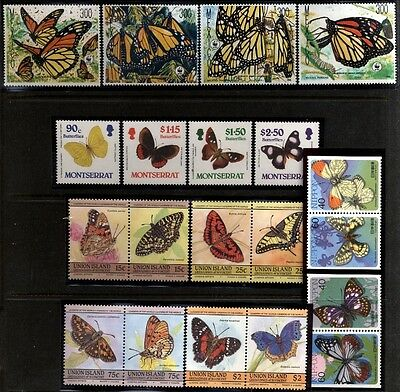 BUTTERFLIES Collection Mexico,Japan,Montserrat,Grenadines Mint NH