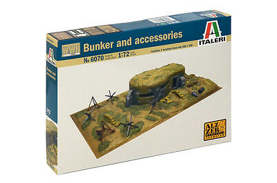 Italeri 6070 1/72 Military Model Kit WWII Battlefield Bunker Diorama Accessories