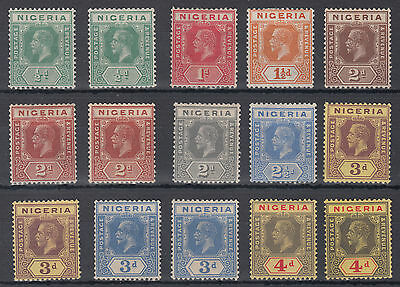Nigeria KGV Definitives Mounted Mint Selection per both scans