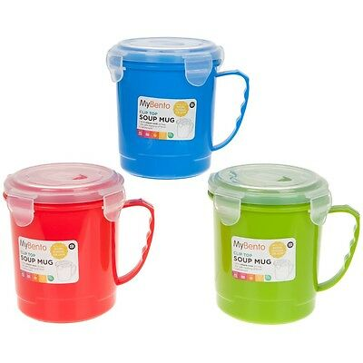 Assorted Colours 685ml Microwavable Soup Mug Travel Camping Coffee Hot Drink Tea