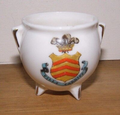 Antique Crested China Cauldron/cooking Pot ~ Cardiff