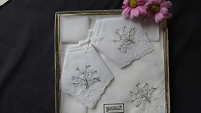 Vintage Ladies Boxed hankies x 3 embroidery & lace edge by Guash