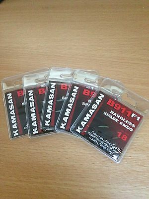 Five packets of Kamasan B911 F1 Barbless Spade End Hooks Size 18