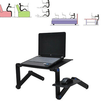 360° Adjustable Foldable Laptop Notebook Desk PC Table Vented Stand Bed Tray New