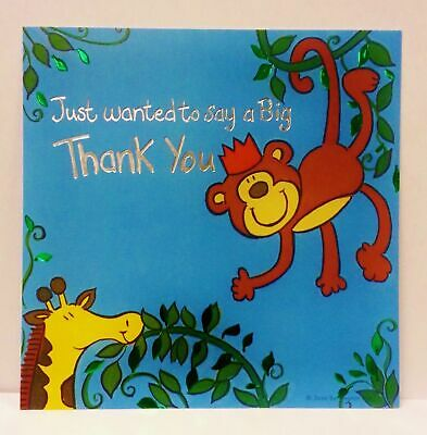 Pack of 10 Thank You Monkey Design Card Sheets with Envelopes Birthday Party
