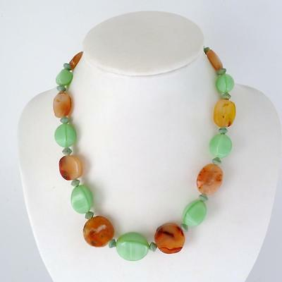 Vintage Chinese Jade And Carnelian Necklace