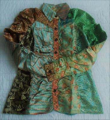 """New Sacred Threads Blouse Top S Satin Patch Ethnic Art2Wear Bust 36"""""""